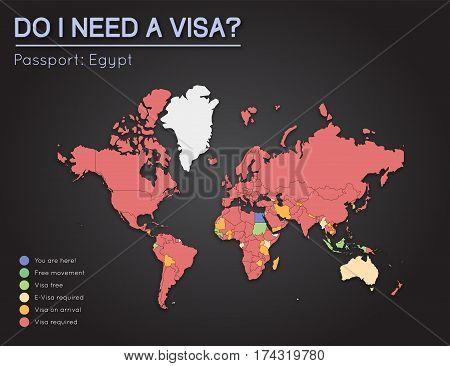 Visas Information For Arab Republic Of Egypt Passport Holders. Year 2017. World Map Infographics Sho