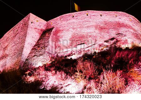 Deva, Old medieval citadel with lights in the night