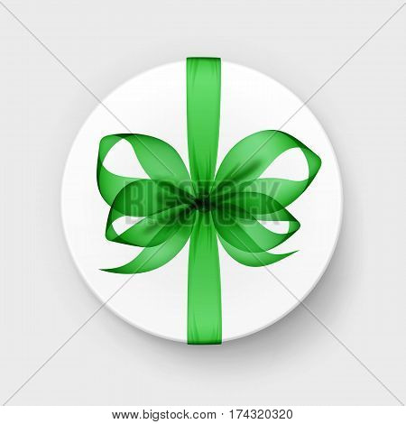 Vector White Round Gift Box with Transparent Green Emerald Bow and Ribbon Top View Close up Isolated on Background