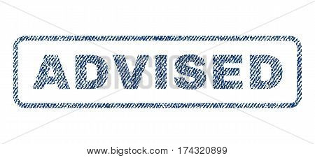 Advised text textile seal stamp watermark. Blue jeans fabric vectorized texture. Vector tag inside rounded rectangular shape. Rubber sign with fiber textile structure.