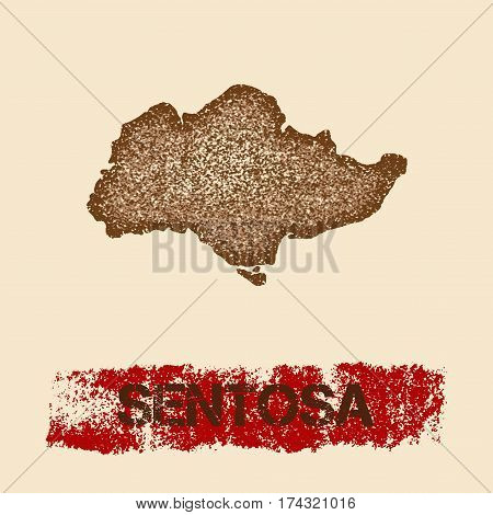 Sentosa Distressed Map. Grunge Patriotic Poster With Textured Island Ink Stamp And Roller Paint Mark