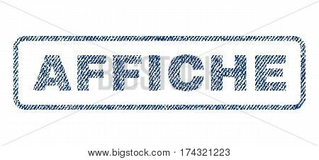 Affiche text textile seal stamp watermark. Blue jeans fabric vectorized texture. Vector caption inside rounded rectangular shape. Rubber emblem with fiber textile structure.