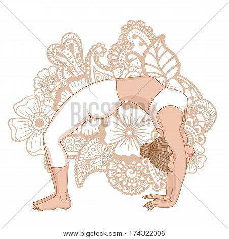 Women silhouette. Upward bow wheel yoga pose. Urdhva dhanurasana. Vector illustration
