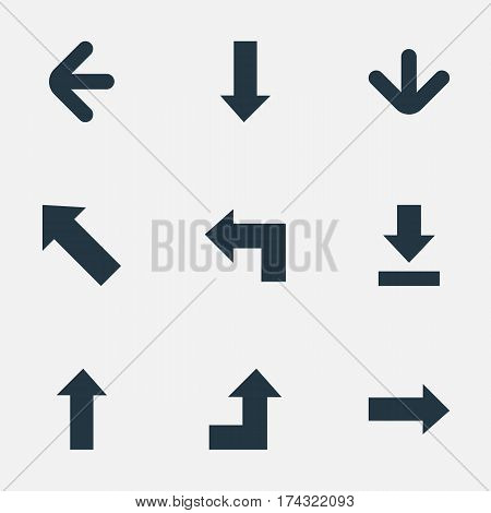 Set Of 9 Simple Arrows Icons. Can Be Found Such Elements As Upward Direction, Left Direction, Let Down And Other.