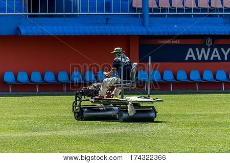 Restoration Grass In A Football Stadium