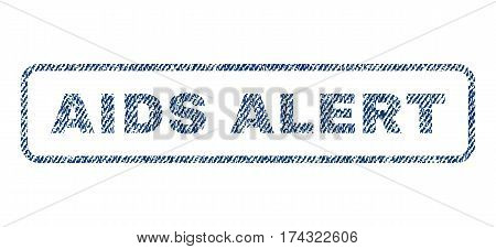 AIDS Alert text textile seal stamp watermark. Blue jeans fabric vectorized texture. Vector caption inside rounded rectangular shape. Rubber sign with fiber textile structure.