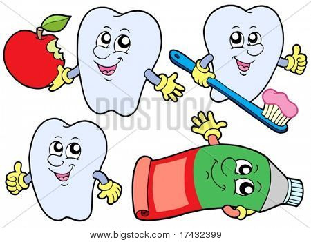 Tooth collection 2 on white background - vector illustration.