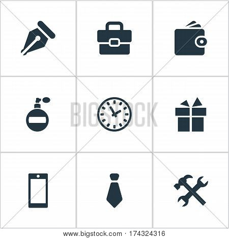 Set Of 9 Simple  Icons. Can Be Found Such Elements As Repair, Present, Billfold And Other.