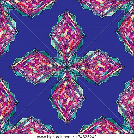 Ornament tracery pattern. Abstract colorful seamless texture for wallpaper, wrapping, textile design, fabric