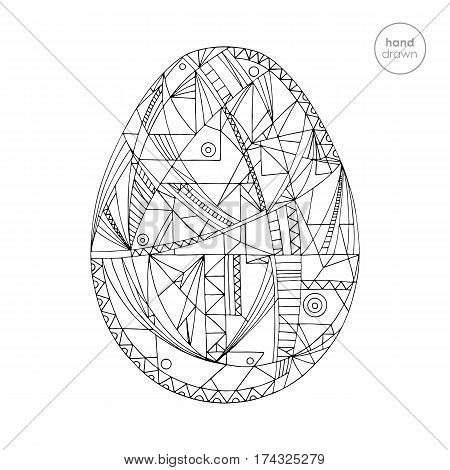Easter egg vector illustration. Hand drawn abstract easter egg. Coloring page.