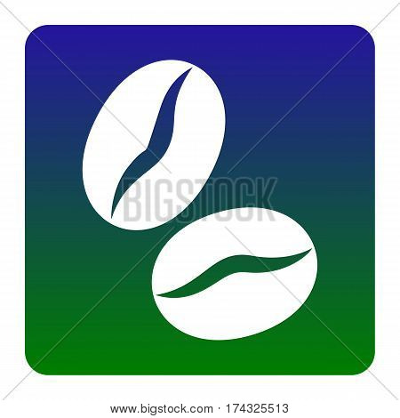 Coffee beans sign. Vector. White icon at green-blue gradient square with rounded corners on white background. Isolated.