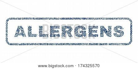 Allergens text textile seal stamp watermark. Blue jeans fabric vectorized texture. Vector tag inside rounded rectangular shape. Rubber sign with fiber textile structure.