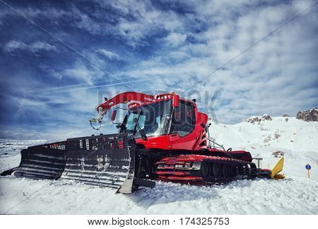 close up on snow removal equipment on the hillside
