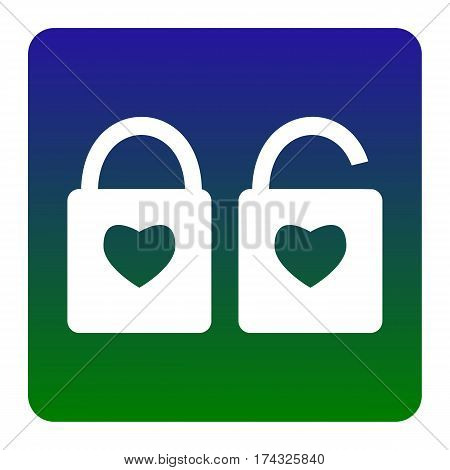 lock sign with heart shape. A simple silhouette of the lock. Shape of a heart. Vector. White icon at green-blue gradient square with rounded corners on white background. Isolated.