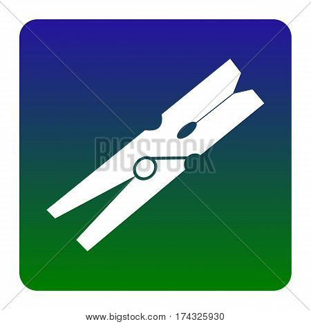 Clothes peg sign. Vector. White icon at green-blue gradient square with rounded corners on white background. Isolated.