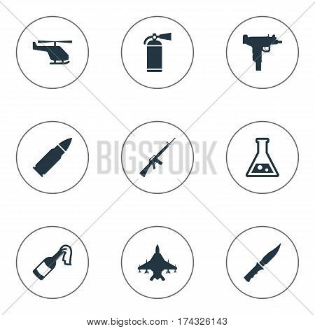 Set Of 9 Simple Terror Icons. Can Be Found Such Elements As Extinguisher, Helicopter, Molotov And Other.