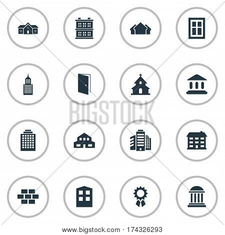 Set Of 16 Simple Construction Icons. Can Be Found Such Elements As Shelter, Residence, Booth And Other.