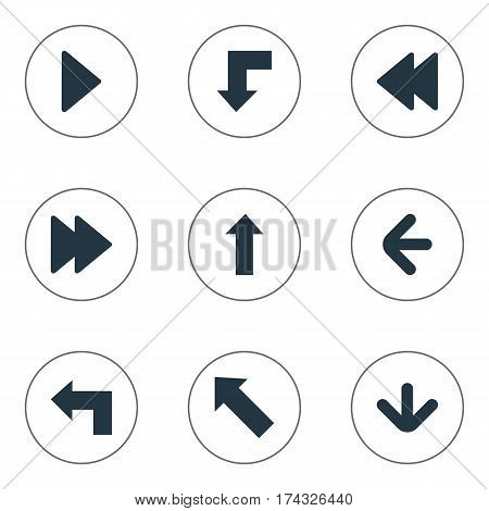 Set Of 9 Simple Indicator Icons. Can Be Found Such Elements As Right Landmark, Pointer , Downwards Pointing.