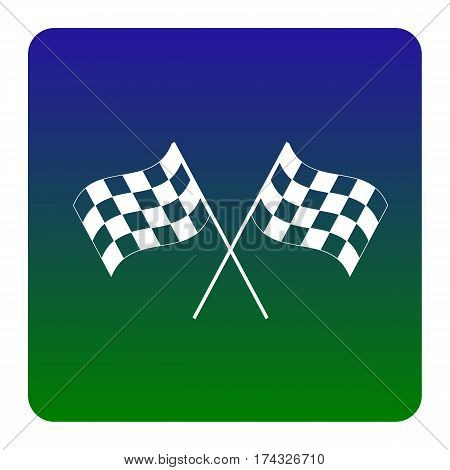 Crossed checkered flags logo waving in the wind conceptual of motor sport. Vector. White icon at green-blue gradient square with rounded corners on white background. Isolated.