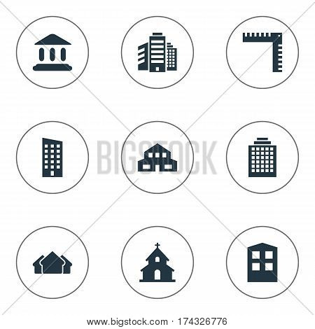 Set Of 9 Simple Construction Icons. Can Be Found Such Elements As Offices, Length, Construction And Other.