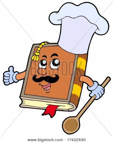 Cartoon recipe book - vector illustration.
