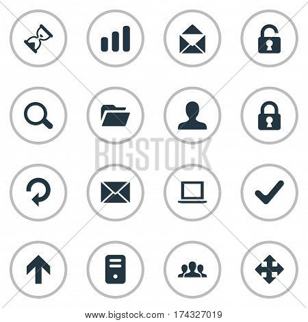 Set Of 16 Simple Practice Icons. Can Be Found Such Elements As Dossier, Sand Timer, Check.