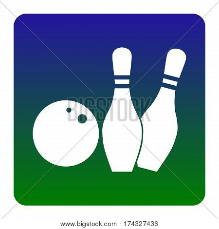 Bowling sign illustration. Vector. White icon at green-blue gradient square with rounded corners on white background. Isolated.