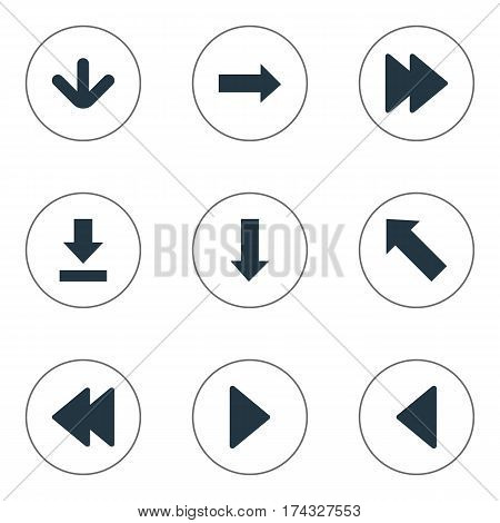 Set Of 9 Simple Arrows Icons. Can Be Found Such Elements As Let Down, Downwards Pointing, Rearward And Other.