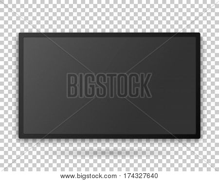 Tv screen template with empty screen, high detailed mock up on the transparent background. Vector realistic illustration.