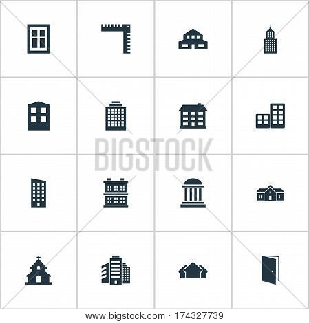 Set Of 16 Simple Construction Icons. Can Be Found Such Elements As Residence, Residential, School And Other.