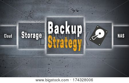 Backup Strategy and HDD touchscreen concept background.