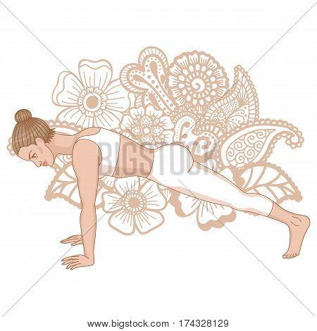 Women silhouette on paisley mehndi ormanent background. High plank yoga pose. Uttihita Chaturanga Dandasana. Vector illustration