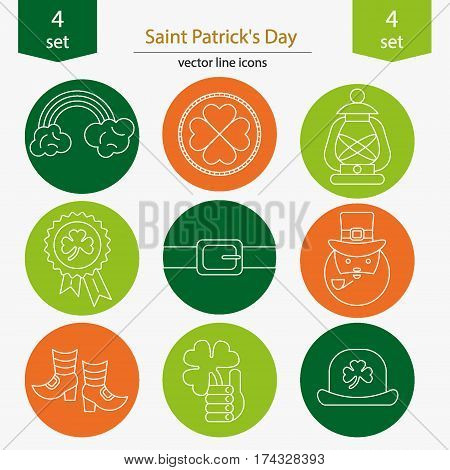 Set of Saint Patrick's Day icons in modern linear style. Sticks of rainbow, coin,  flashlight,  icon,  belt,  Irishman, shoes, clover, hat