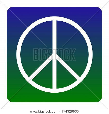 Peace sign illustration. Vector. White icon at green-blue gradient square with rounded corners on white background. Isolated.