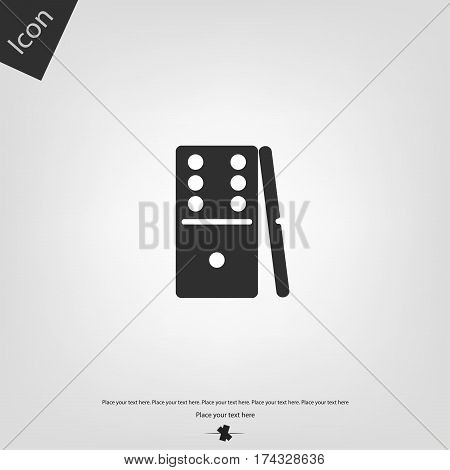 Domino vector icon, gray background. Vector illustration.