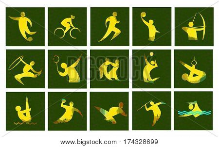 Digital vector image. Sport card icons set with an yellow abstract performer, stick figure.