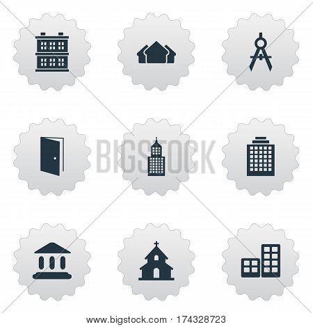 Set Of 9 Simple Architecture Icons. Can Be Found Such Elements As Gate, Engineer Tool, Offices And Other.