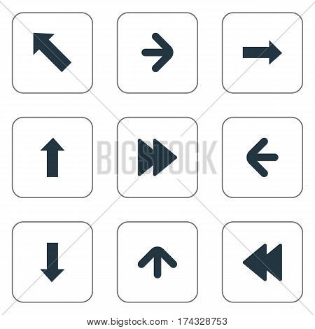 Set Of 9 Simple Arrows Icons. Can Be Found Such Elements As Right Direction, Advanced, Left Direction And Other.