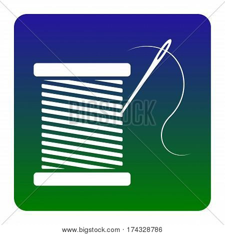 Thread with needle sign illustration. Vector. White icon at green-blue gradient square with rounded corners on white background. Isolated.