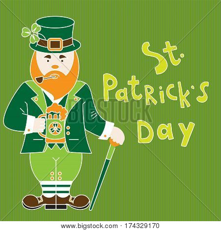 Saint Patrick's Day greeting card with irishman