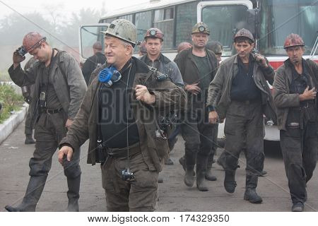Artemovsk Ukraine - August 06 2013: Miners mine name Artem came to replace