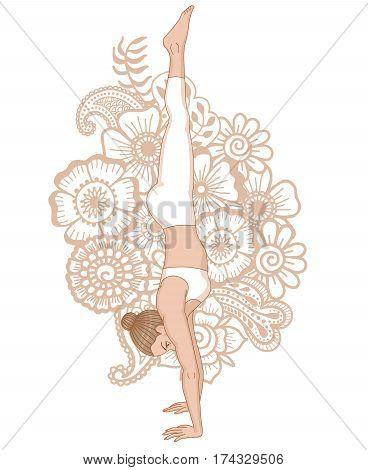 Women silhouette on paisley mehndi ormanent background. Headstand yoga pose. Adho Mukha vrksasana.Vector illustration