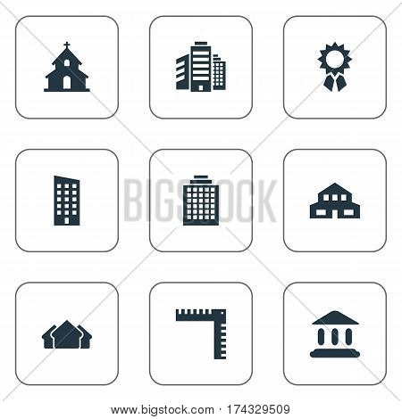 Set Of 9 Simple Structure Icons. Can Be Found Such Elements As Popish, Offices, Floor And Other.