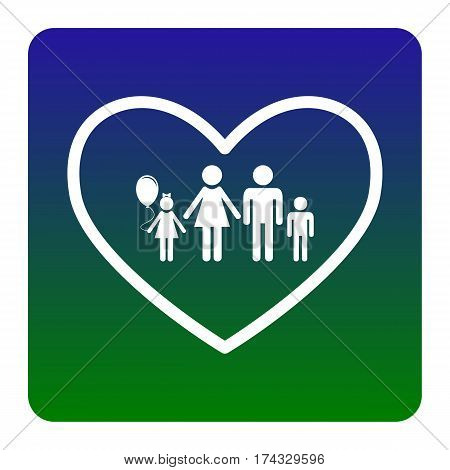 Family sign illustration in heart shape. Vector. White icon at green-blue gradient square with rounded corners on white background. Isolated.