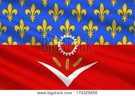 Flag of Seine-Saint-Denis is a French department named after the Seine and Marne rivers and located in the Ile-de-France region. 3d illustration