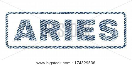 Aries text textile seal stamp watermark. Blue jeans fabric vectorized texture. Vector tag inside rounded rectangular banner. Rubber sign with fiber textile structure.