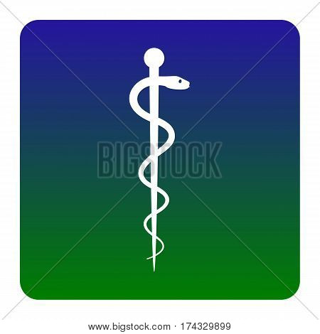 Symbol of the Medicine. Vector. White icon at green-blue gradient square with rounded corners on white background. Isolated.