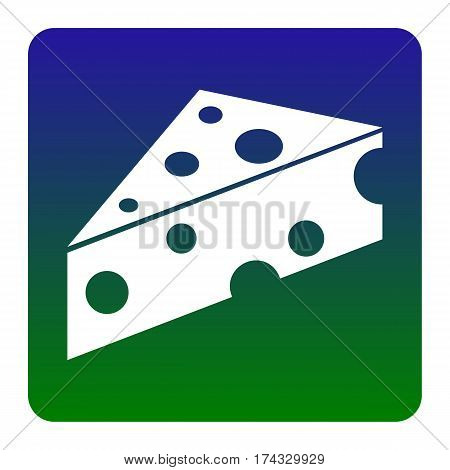 Cheese Maasdam sign. Vector. White icon at green-blue gradient square with rounded corners on white background. Isolated.
