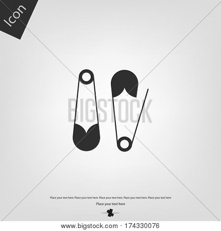 Safety pin vector icon, gray background. Vector illustration.