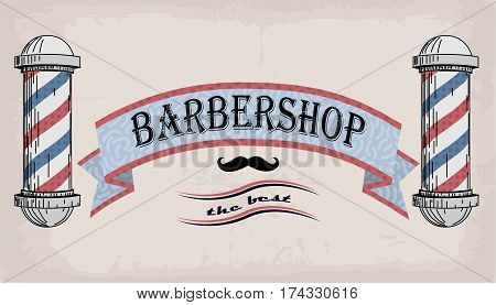 Poster logo sign signboard fascia or shingle for barber coiffeur haircutter vintage retro inscription barbershop. Vector vertical closeup front view beautiful old school signboard barber's salon